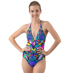 Heart Chakra   Anahata   Halter Cut Out One Piece Swimsuit