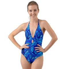 Arcturian Calming Grid   Halter Cut Out One Piece Swimsuit